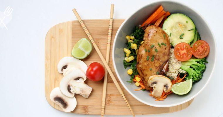 Pollo teriyaki con verduras al horno