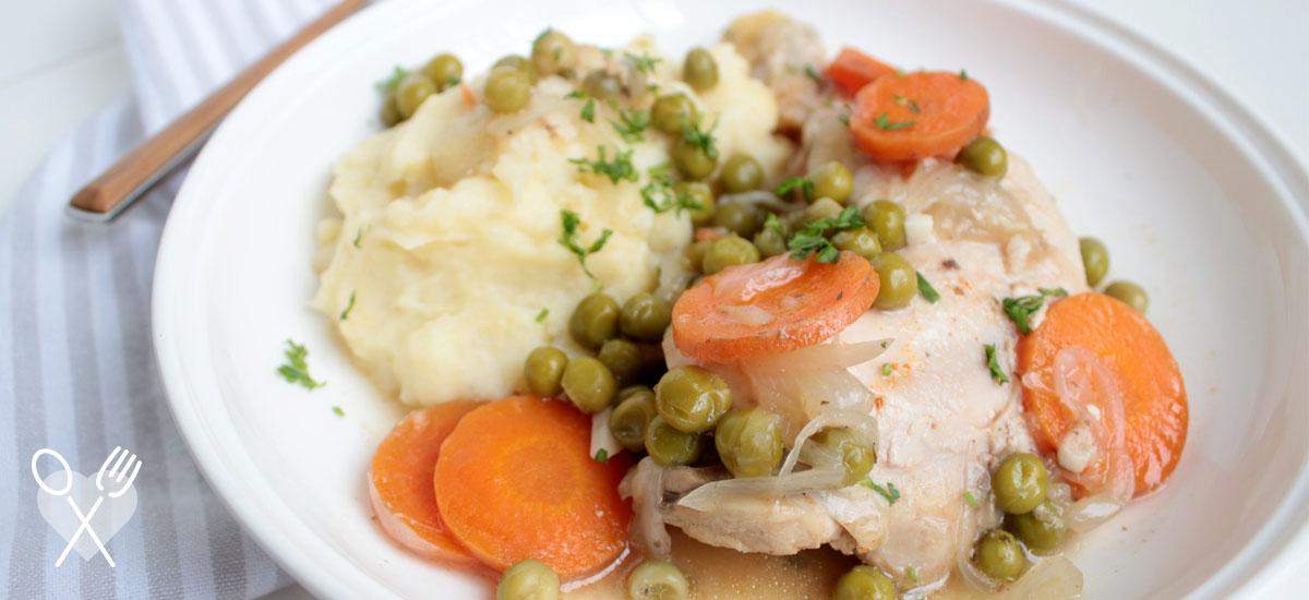 Pollo arvejado con puré